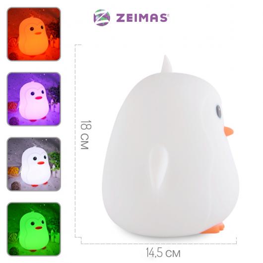 """Детский ночник/светильник силиконовый, светодиодный """"Пингвин"""" - Zeimas®  с таймером автовыключения + пульт ДУ"""